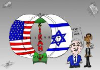 American and Israeli interests Venn Diagram with Iranian nuclear bomb at the center